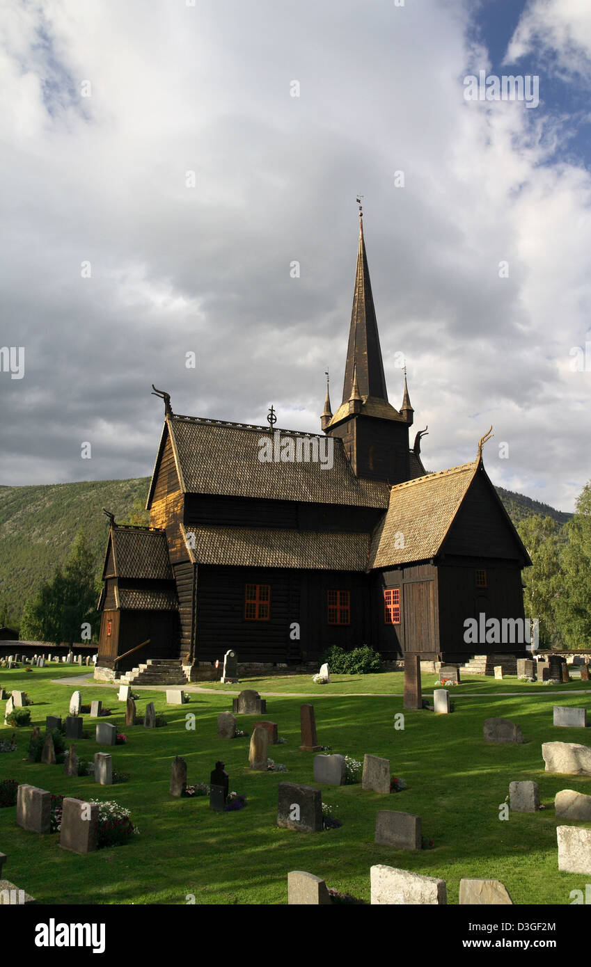 Old wooden stave church in the Norwegian countryside - Stock Image