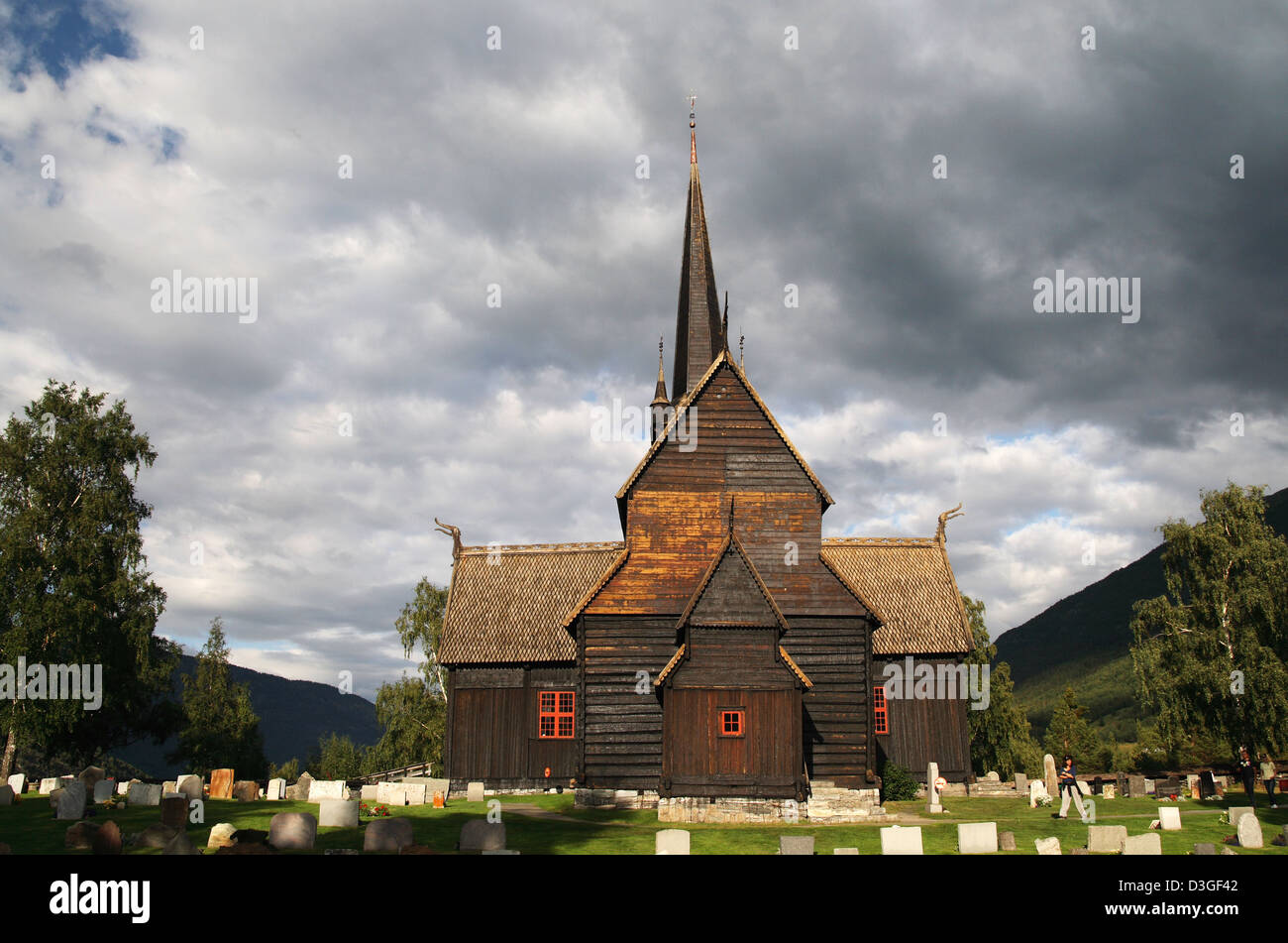 An old stave church in the Norwegian countryside - Stock Image