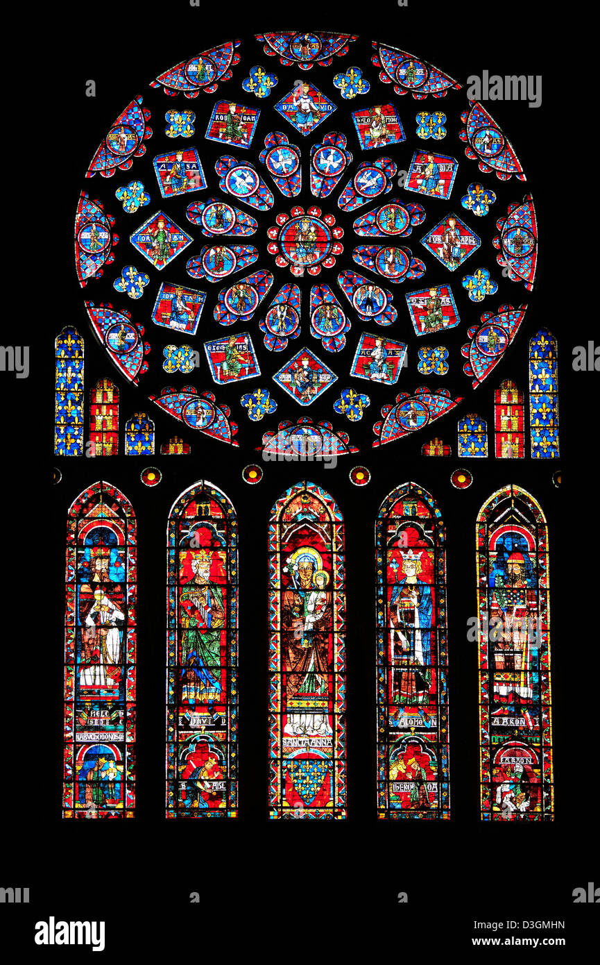 Medieval Rose Window Of The North Transept Gothic Cathedral Chartres France Circa 1235