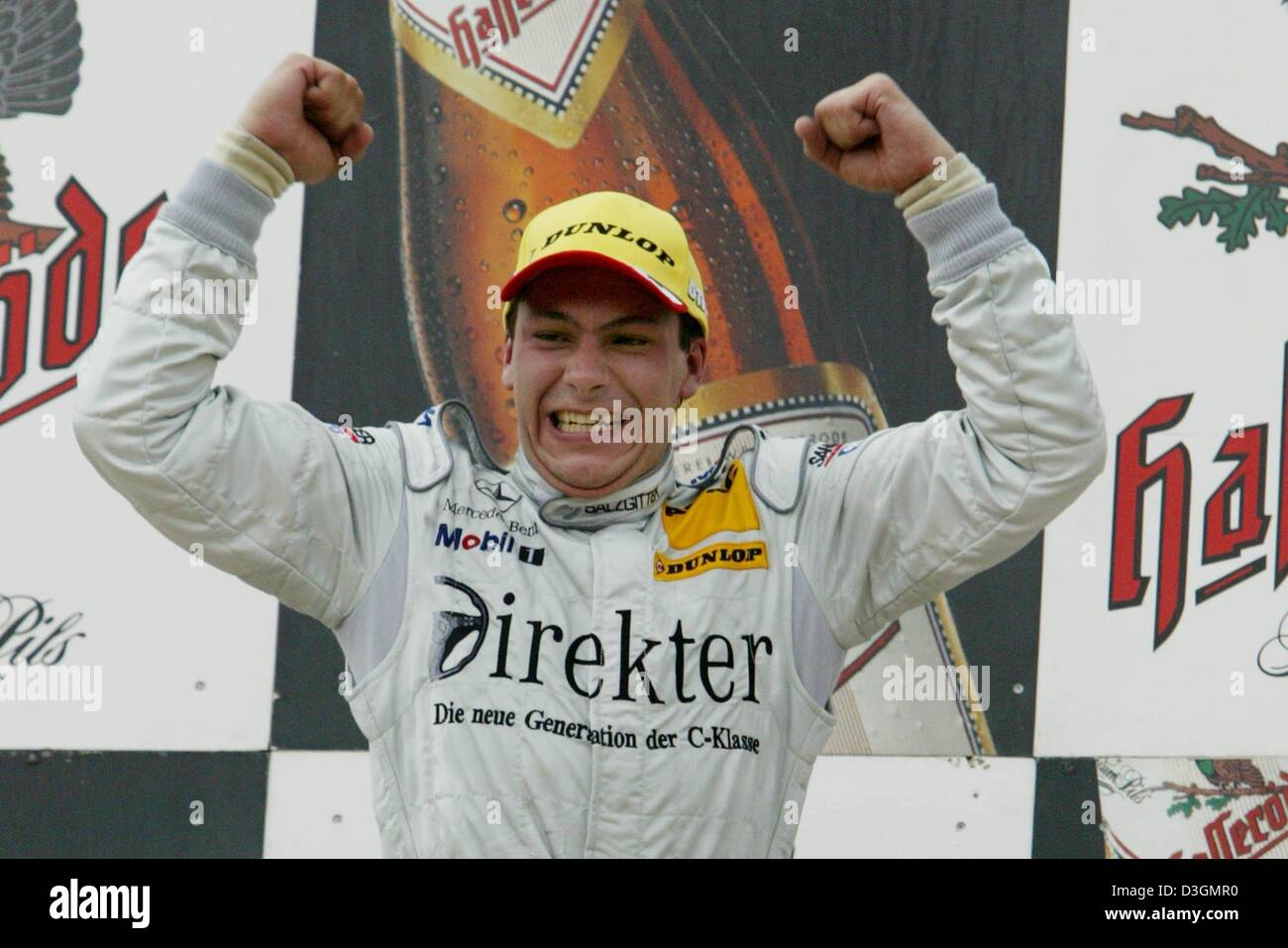 (dpa) - British DTM Mercedes pilot Gary Paffett cheers during the award ceremony in Nuremberg, Germany, 27 June Stock Photo