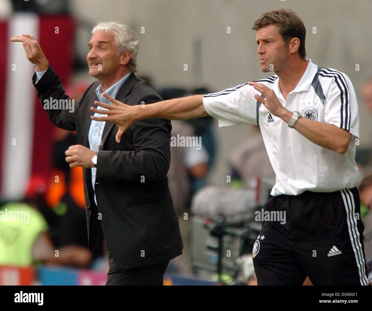 (dpa) - German head coach Rudi Voeller (L) and his assistant Michael Skibbe gesture on the sidelines. The German - Stock Image