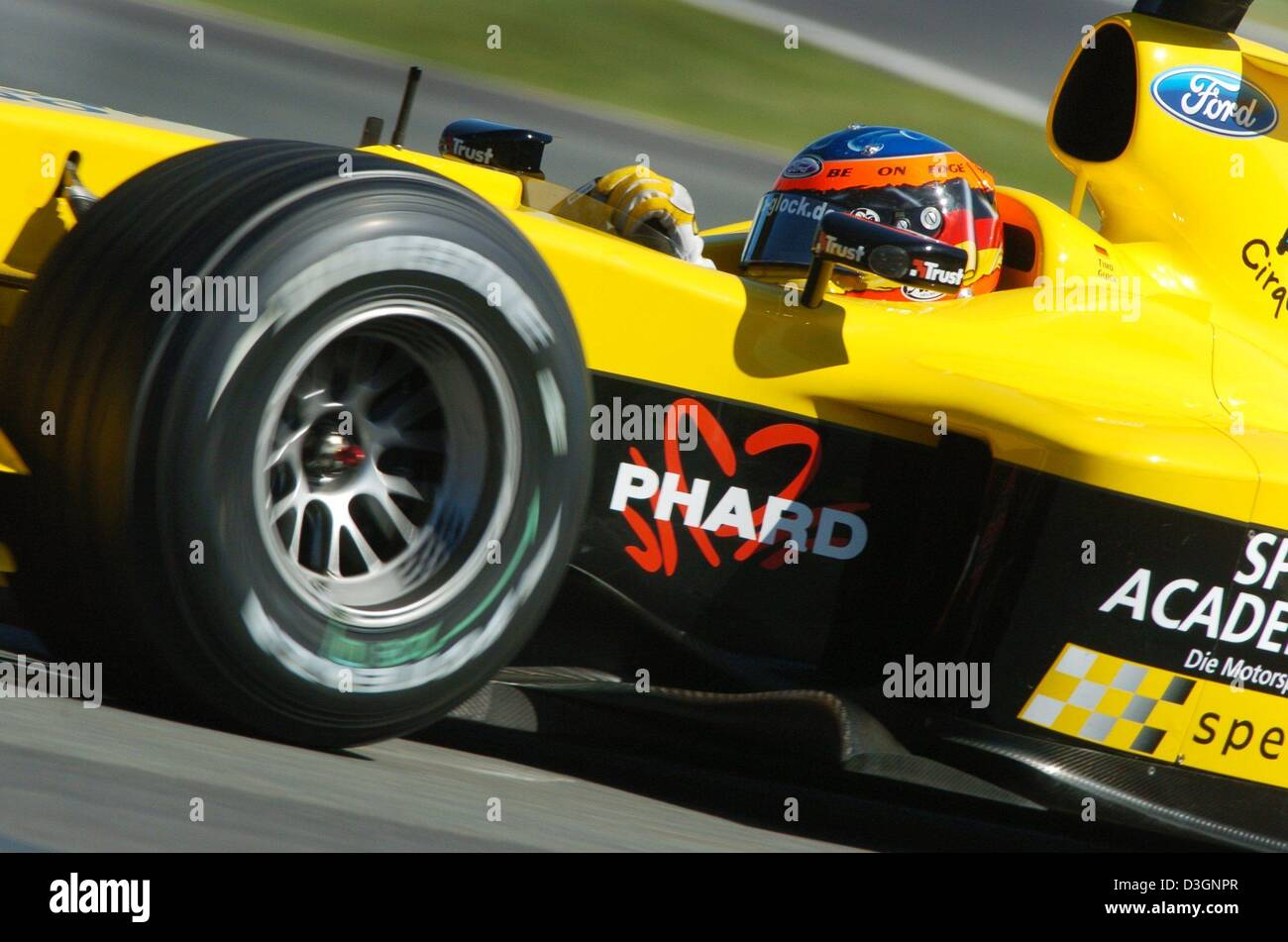 Dpa German Formula One Pilot Timo Glock Jordan Ford Steers His Racing Car Through A Curve During The Free Training At The Formula One Racetrack In