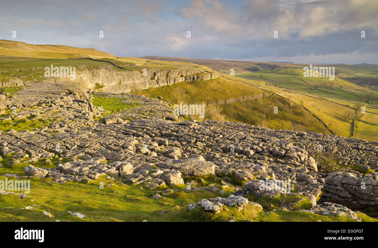 The limestone pavement on top of Malham Cove in the Yorkshire Dales - Stock Image