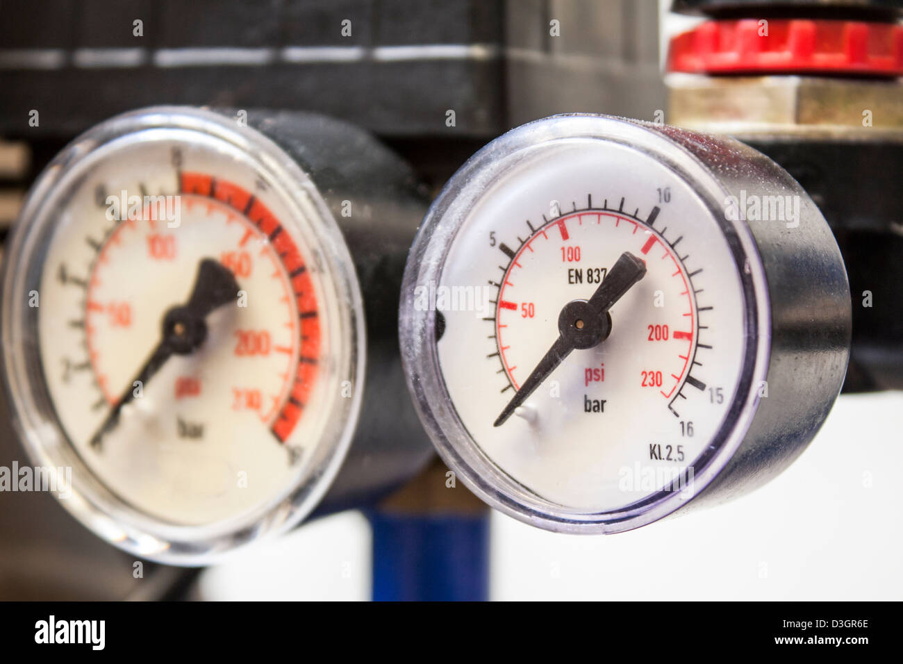 industrial barometer in blue air compressors,white background - Stock Image