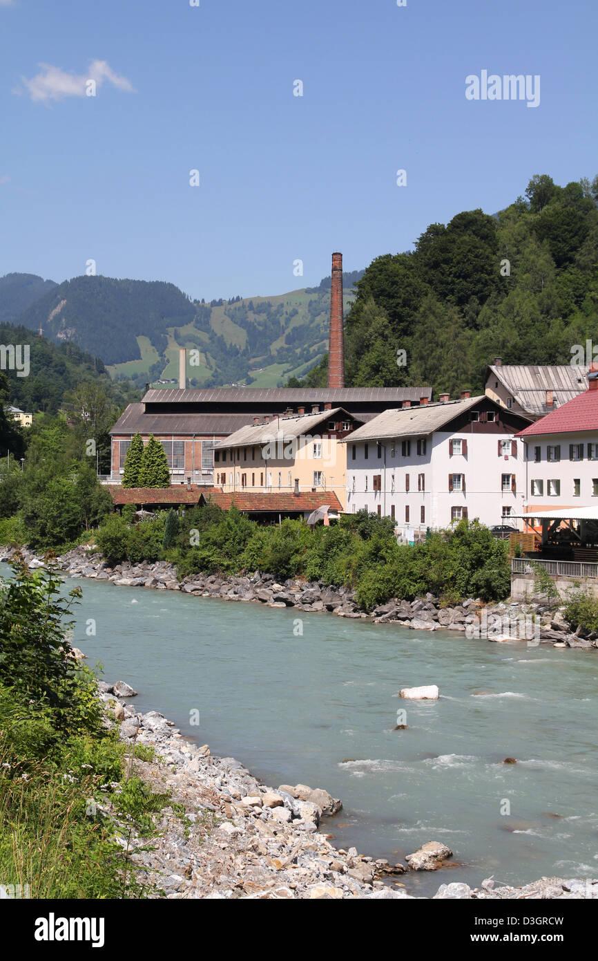 Austria - Salzach river in the town of Lend, region Pinzgau Stock Photo