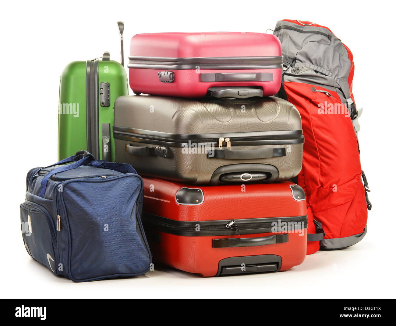 Luggage consisting of backpack, suitcases and large travel bag isolated on white background - Stock Image