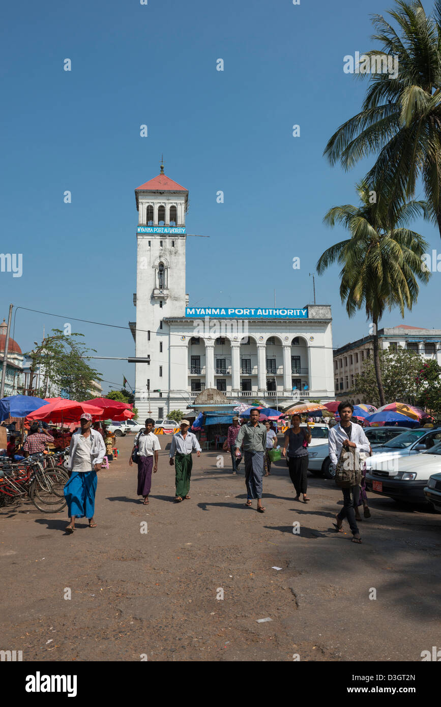 Old colonial building now the Port Authority of Yangon Rangoon Myanmar Burma - Stock Image