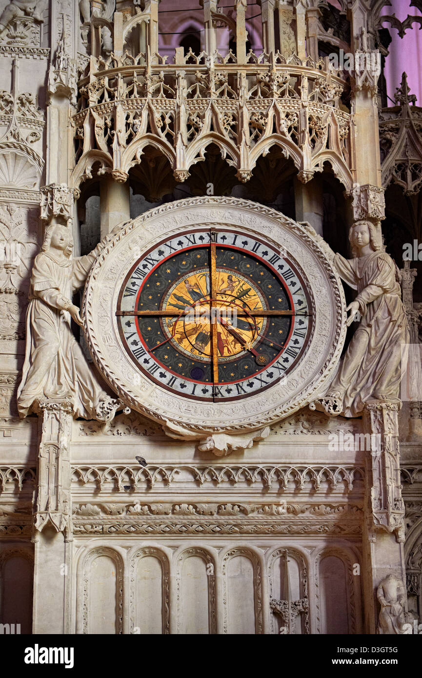 16th century flamboyant gothic Astrological Clock in the choir screen of the Cathedral of Chartres, France. - Stock Image