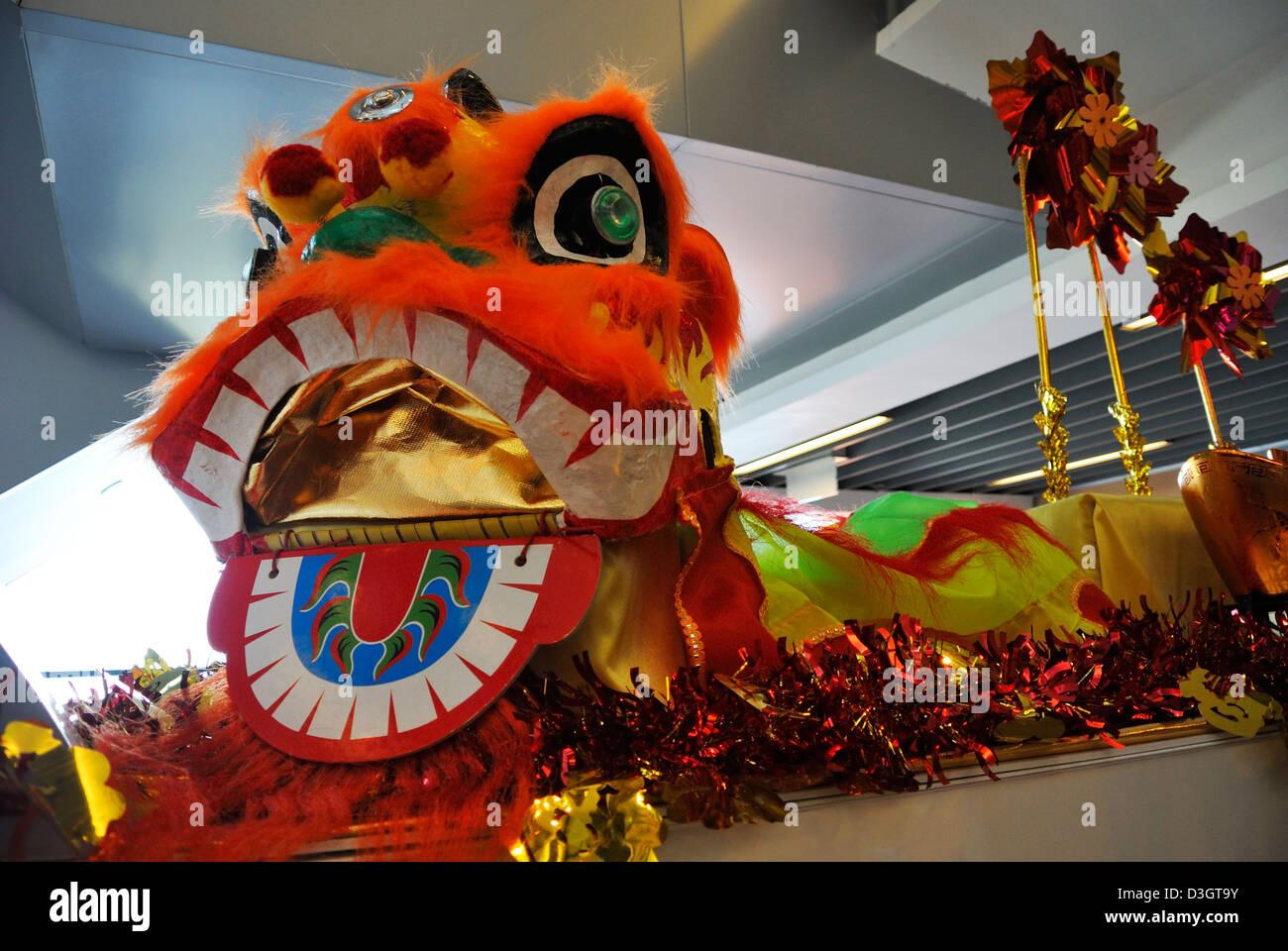 chinese new year dragon decoration at Peak Tram station, The Peak, Hong Kong, SAR, China - Stock Image
