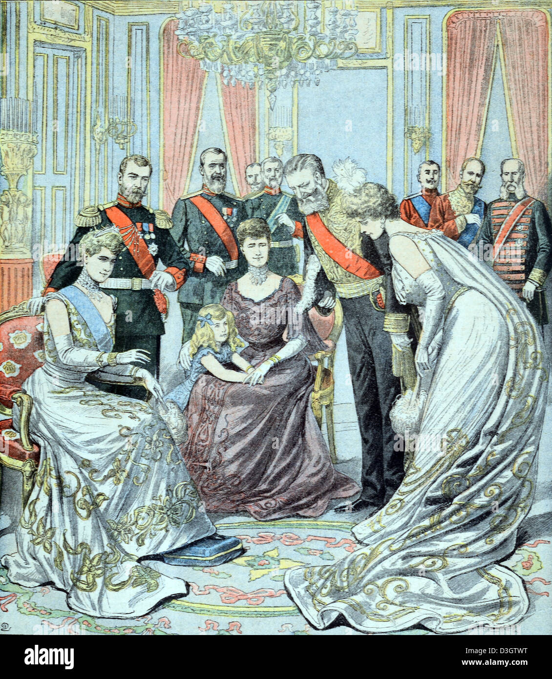 Reception of Russian Czar or Emperor Nicholas II of Russia and the French Ambassador in Saint Petersburg Russia (February 1903). Vintage or Old Illustration or Engraving 1903 Stock Photo