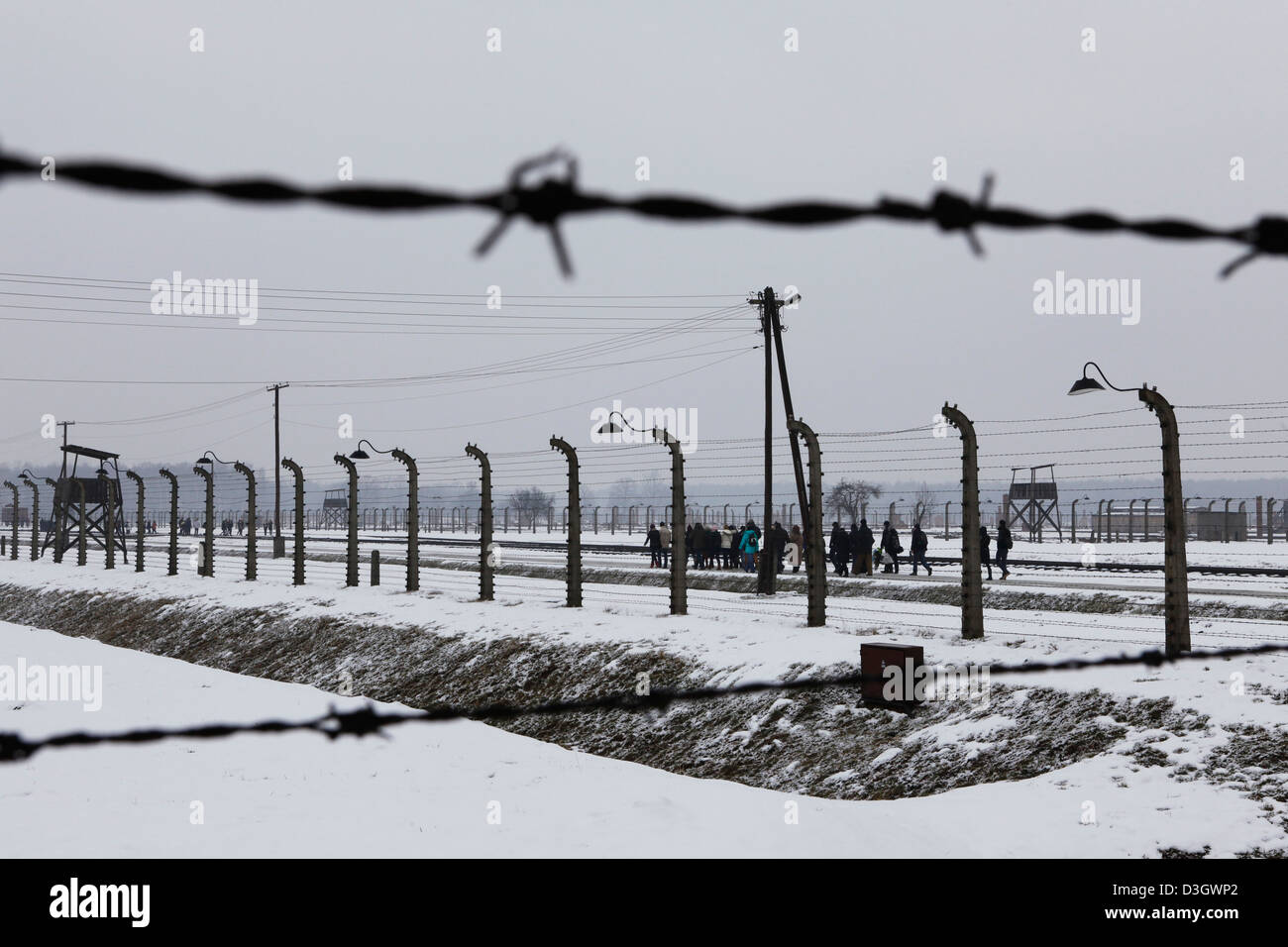 The barbed wire and fences of Birkenau concentration camp (Auschwitz II) at Oswiecim in Poland. - Stock Image