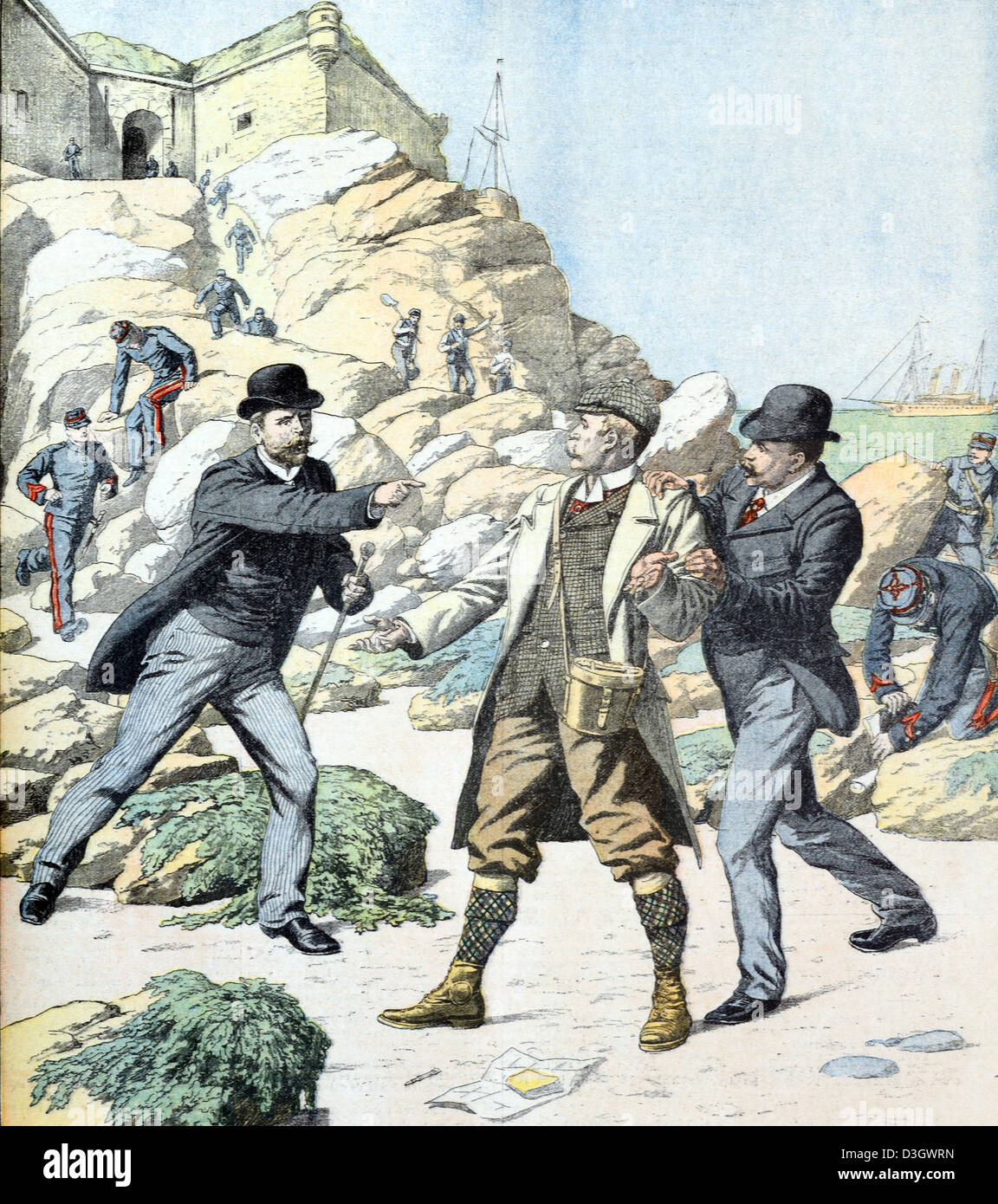 English Spy Arrested by French Police Officers on Belle-Île Island Brittany (June 1904) - Stock Image