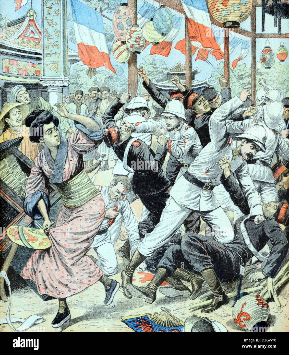 Confrontation between French & Japanese Troops or Soldiers in China (July 1904) - Stock Image