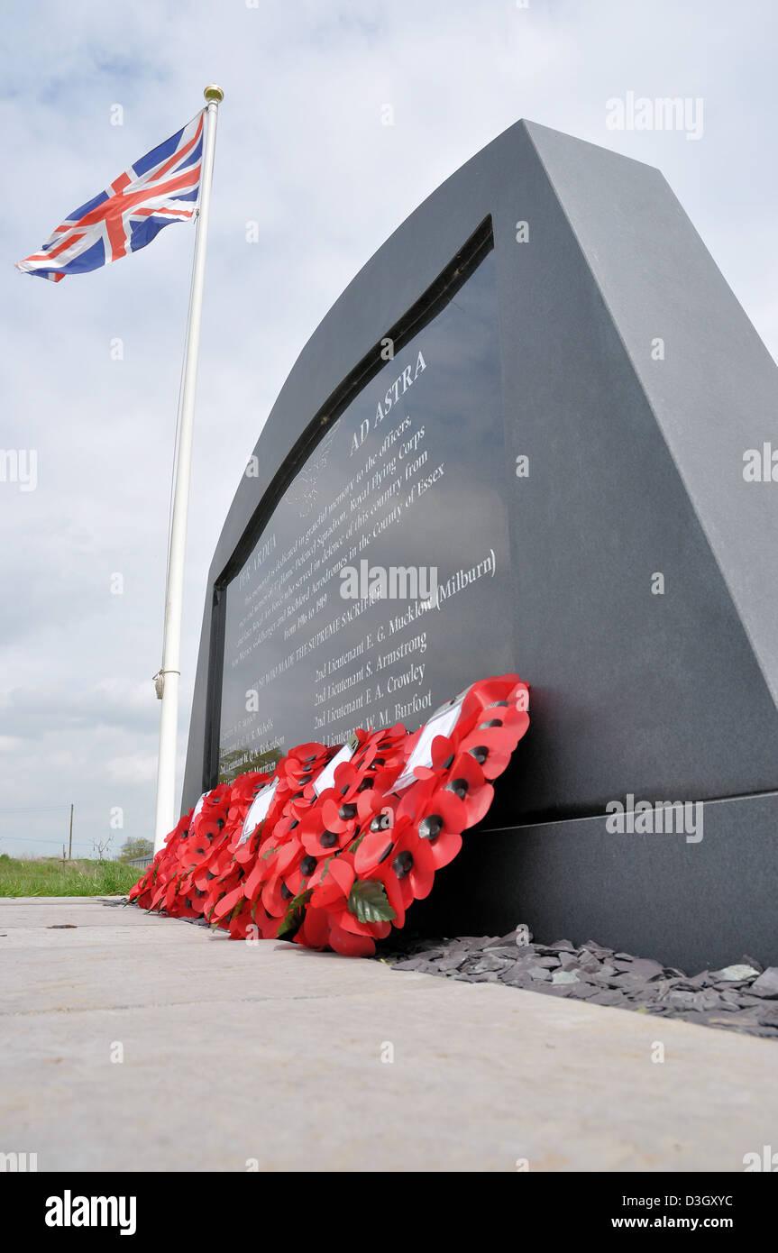 The memorial to fallen airmen at Stow Maries World War One aerodrome, Essex - Stock Image