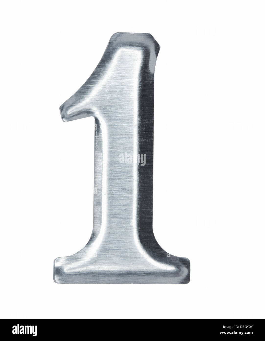 Brushed metal Number 1 one - Stock Image
