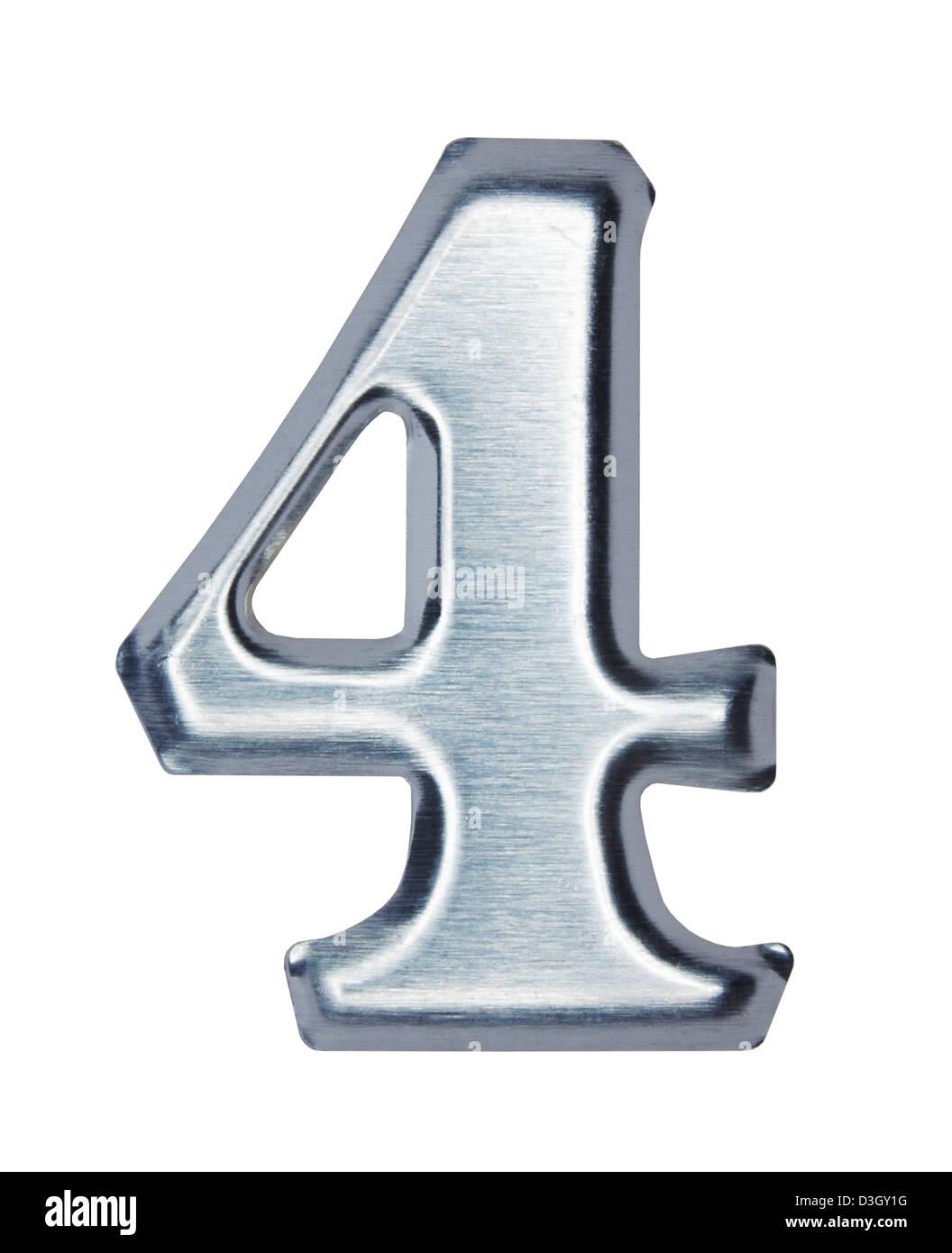 Brushed metal Number 4 four - Stock Image