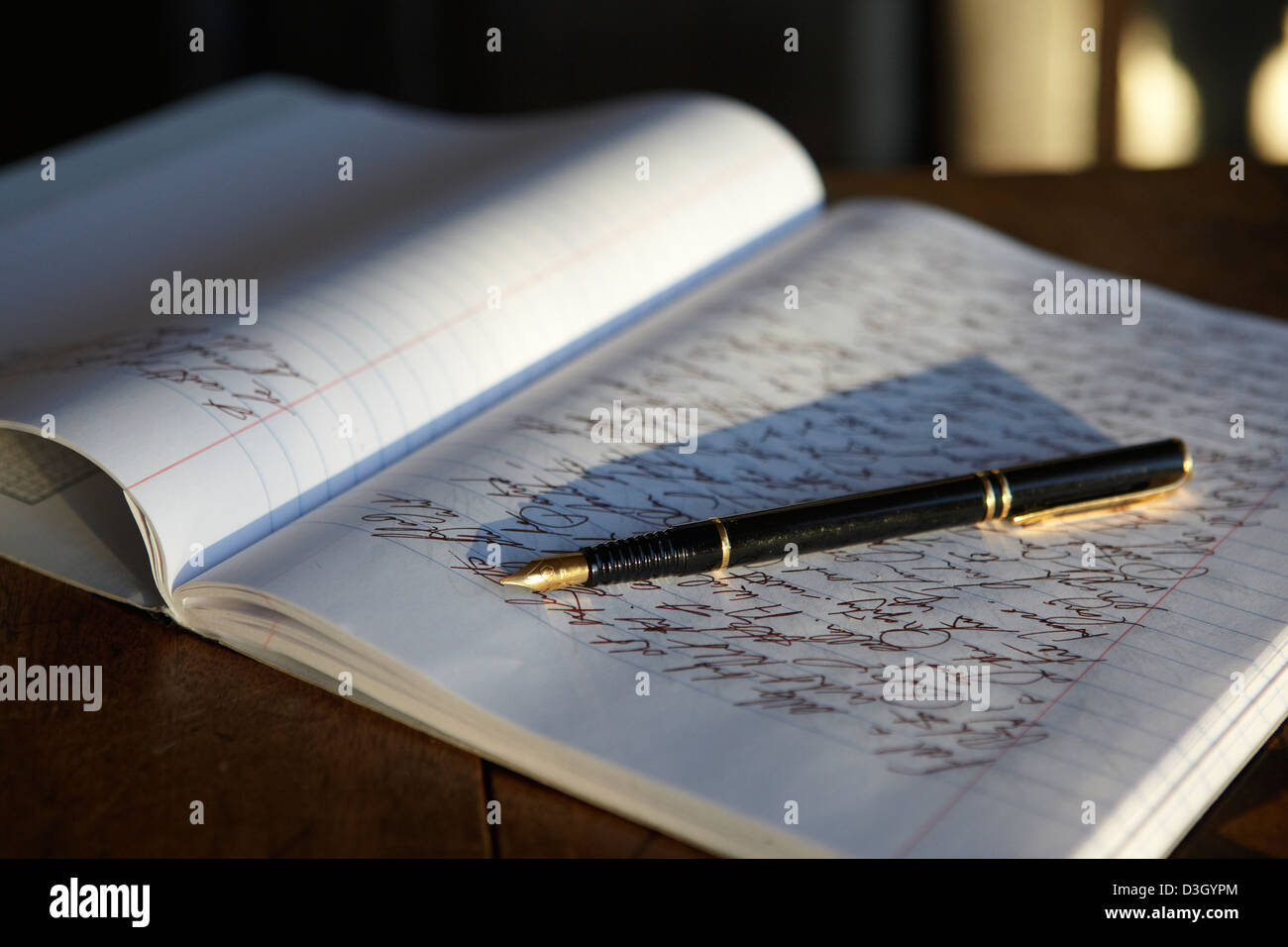 open journal notebook and fountain pen - Stock Image