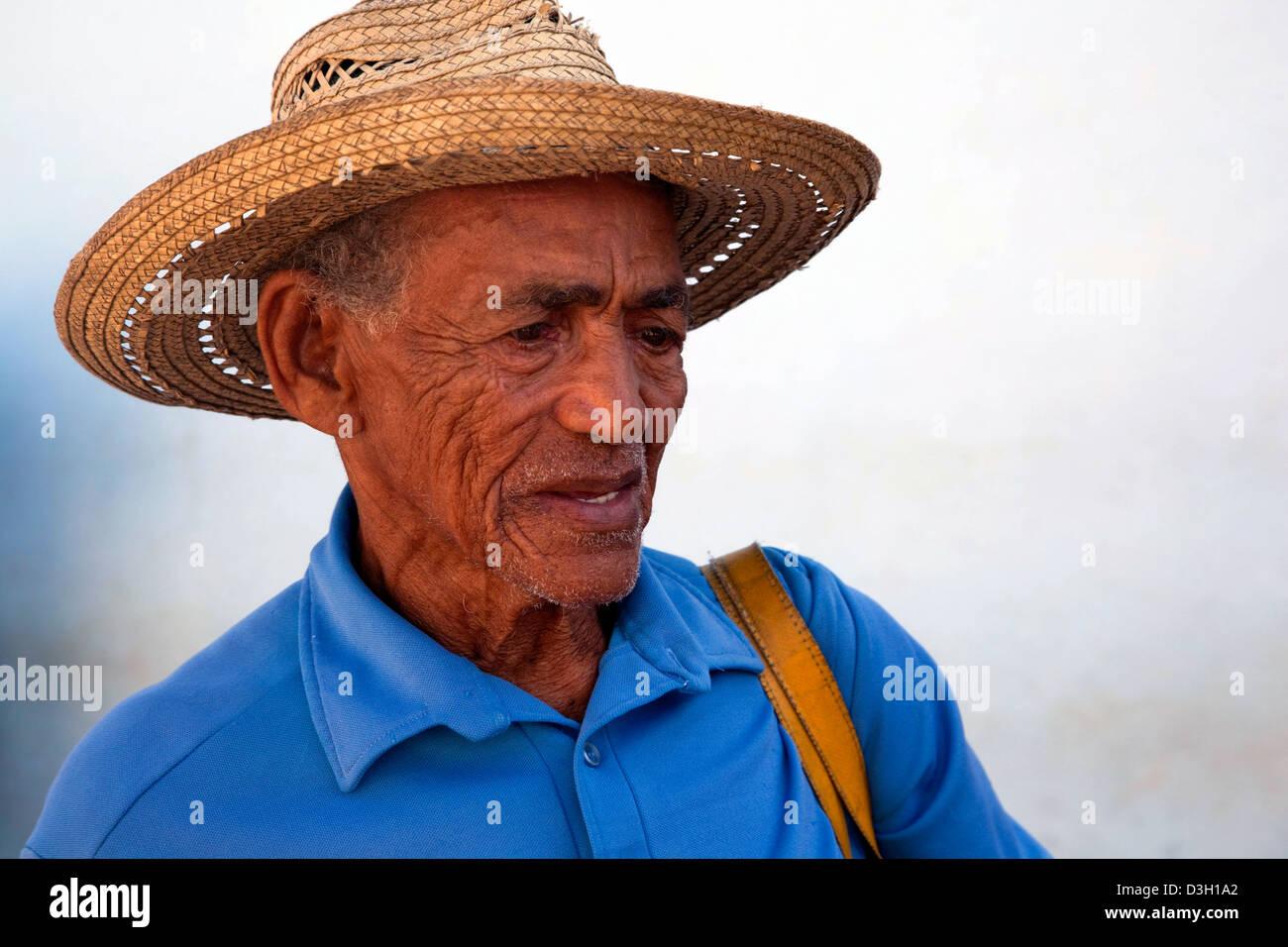 Caribbean Men: Portrait Of Old Cuban Man Wearing Straw Hat, Cuba