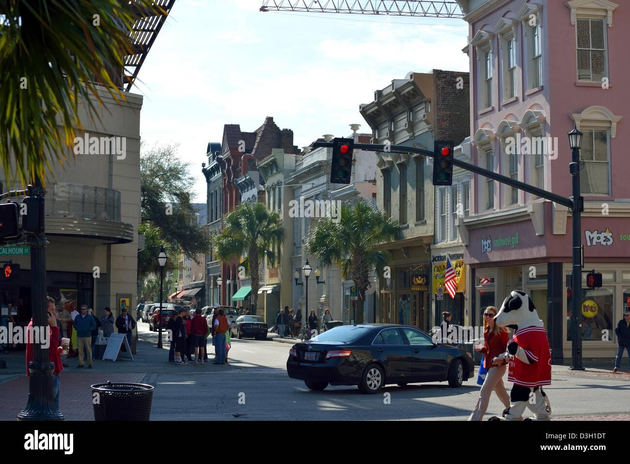 Street view at major intersection of Charleston, SC USA - Stock Image