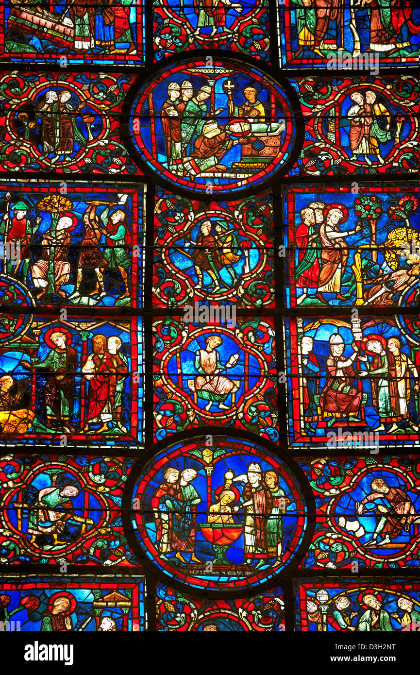 Medieval Windows of the Gothic Cathedral of Chartres, France, dedicated to St Martin of Tour. - Stock Image