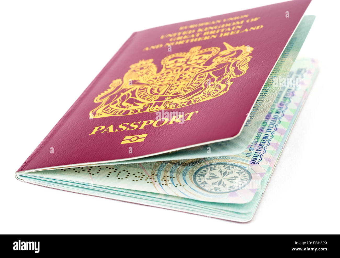 A 2013 European Union biometric passport for the United Kingdom - Stock Image