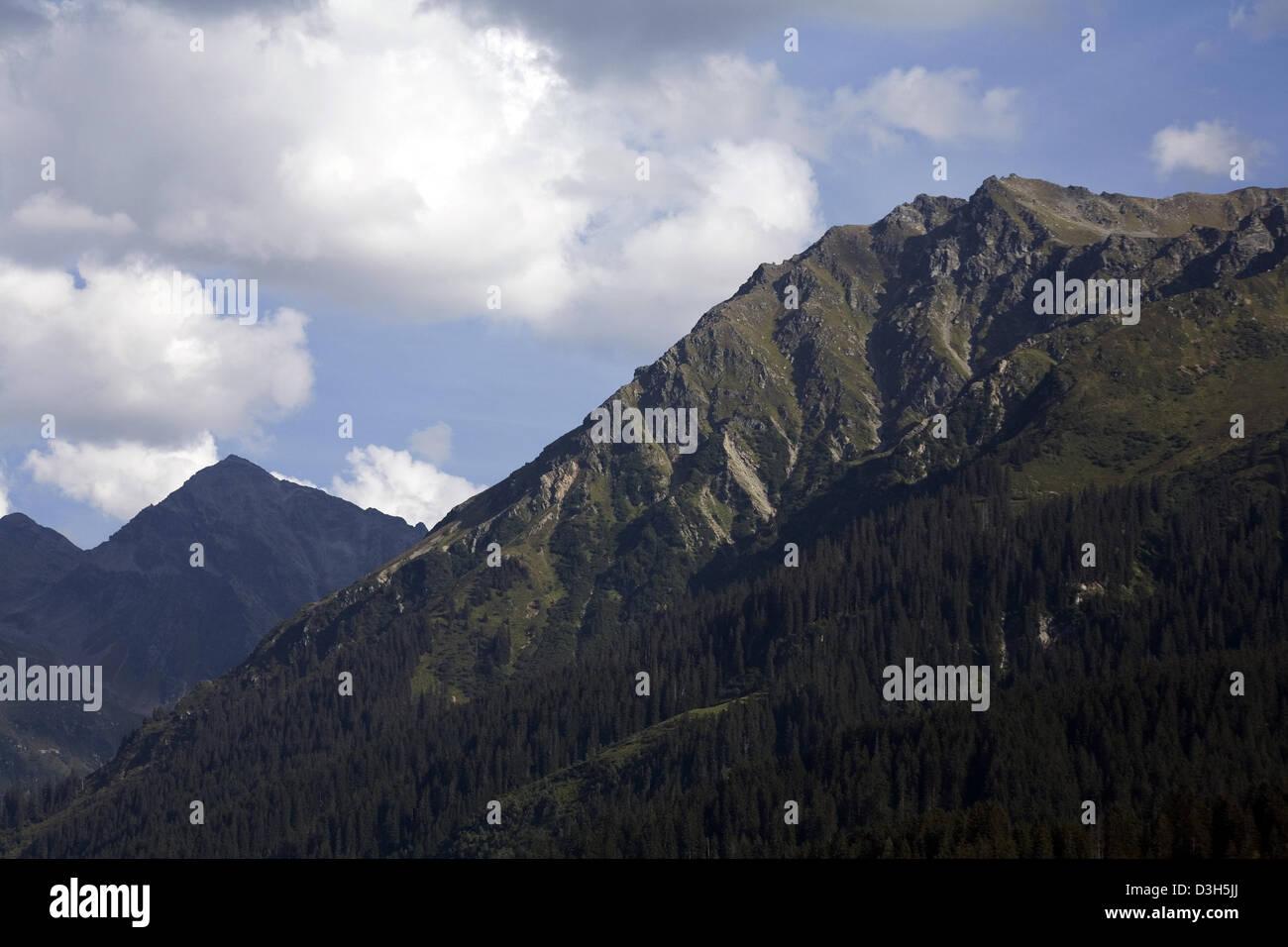 Wooded mountainsides along The Landquart Valley Klosters Graubunden Switzerland - Stock Image