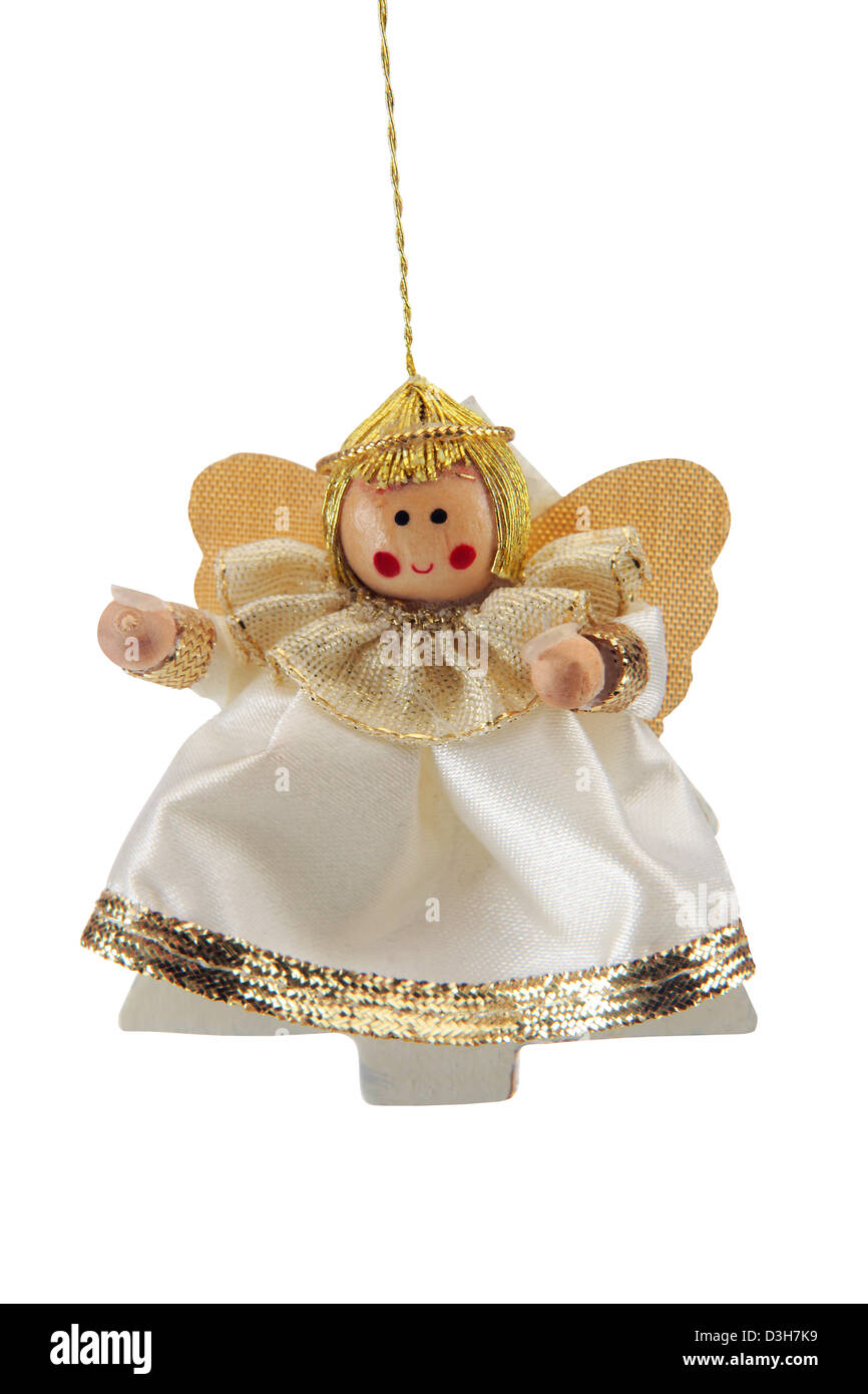 Angel christmas tree ornament cut out on white background