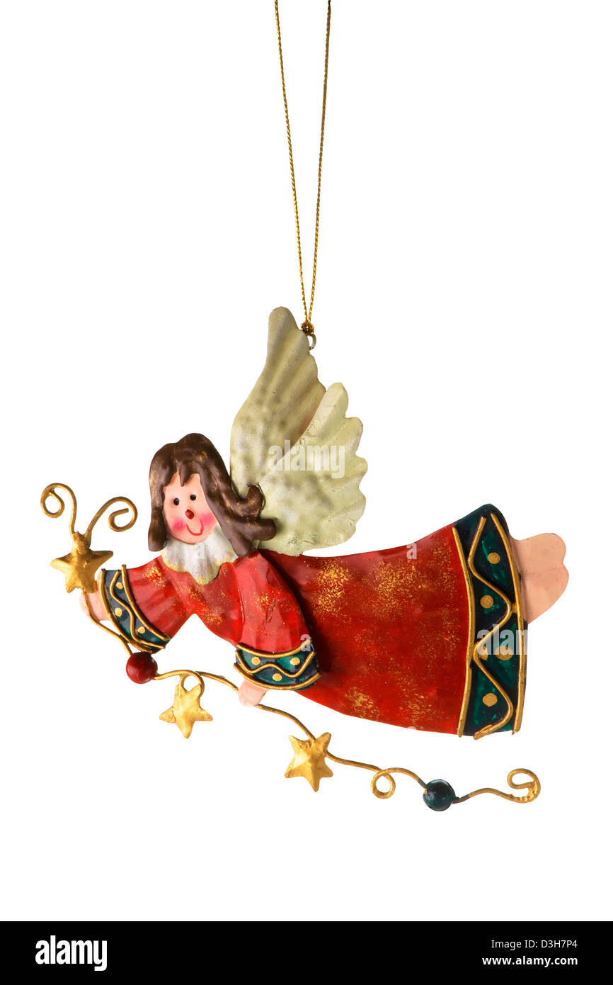 Tinplate Angel, Christmas tree ornaments, isolate on a white background. - Stock Image