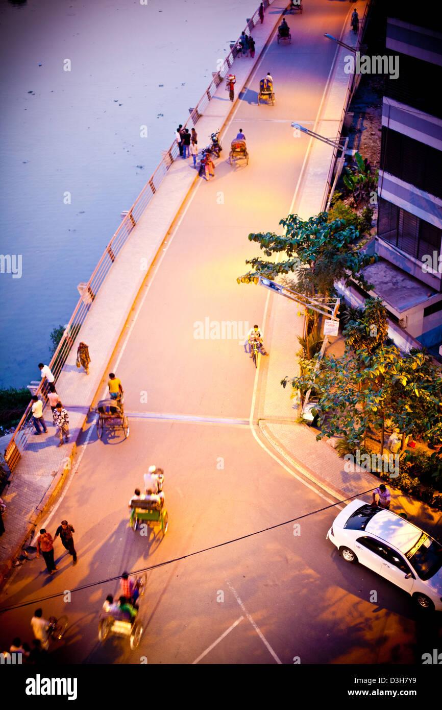 night street scene of Dhaka Bangladesh - Stock Image