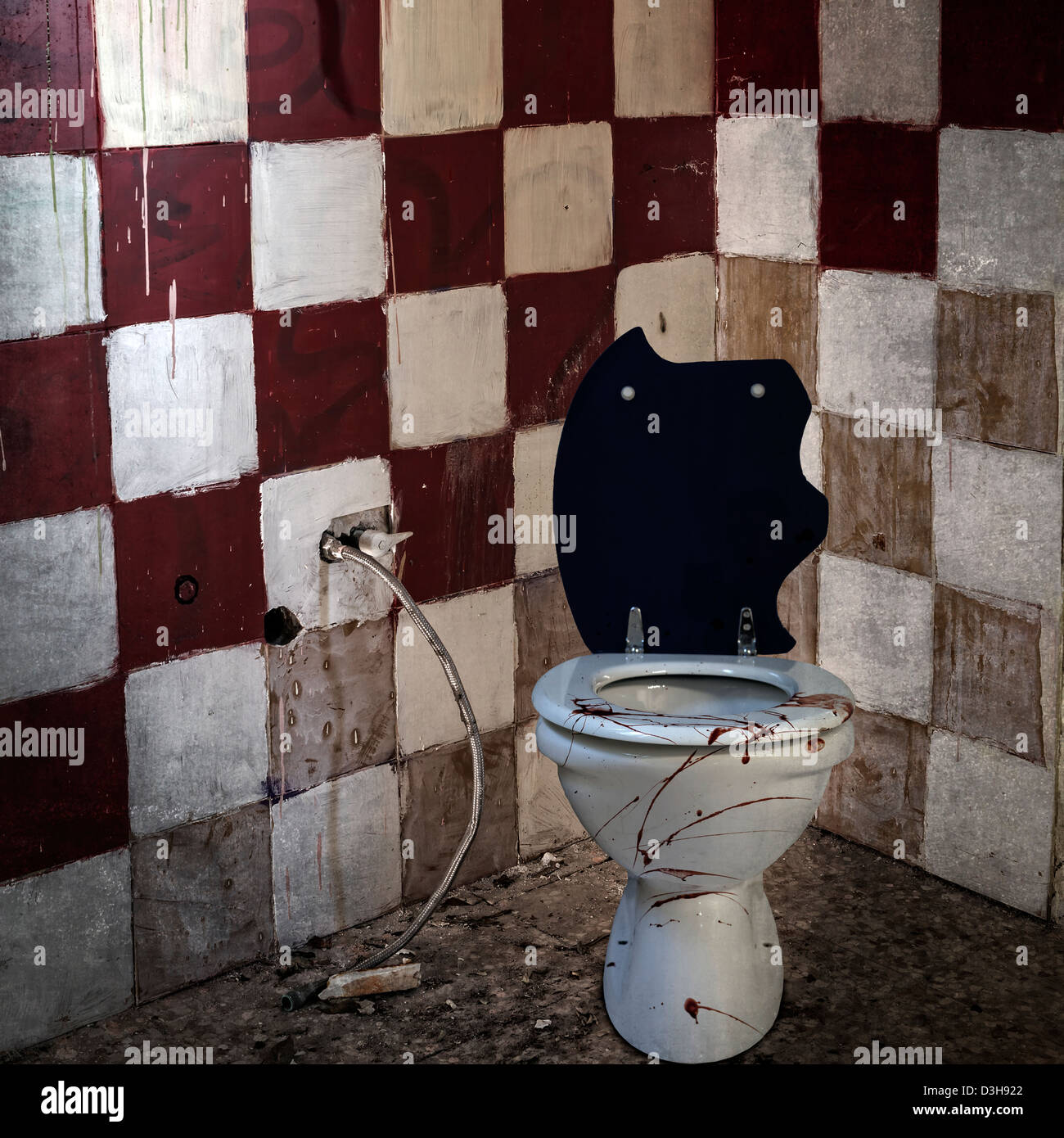 a bloody water-closet in an old, abandoned bathroom - Stock Image