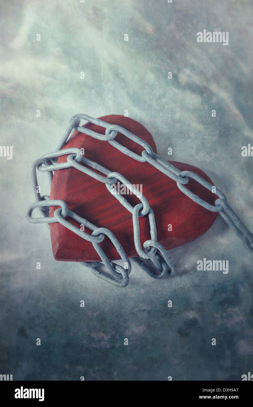 a heart in chains - Stock Image
