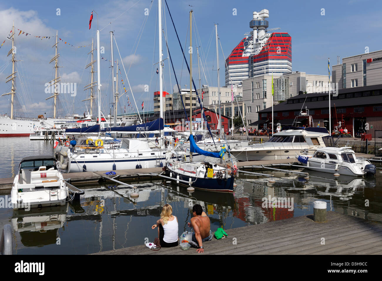 Gothenburg, Sweden, the sailing ship Viking boats in the harbor Lilla Bommen Stock Photo