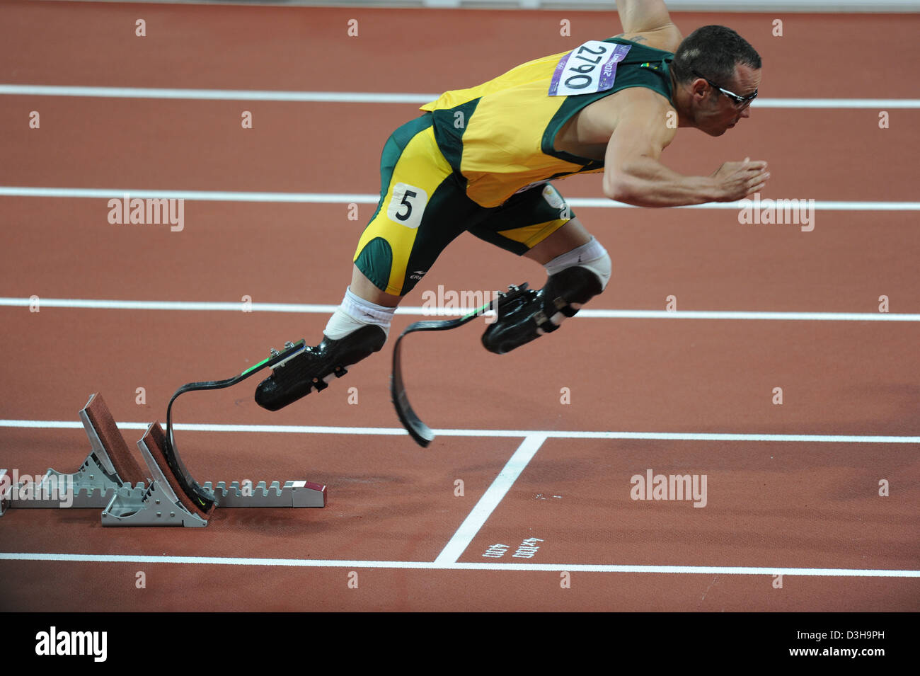 Oscar Pistorius competes in the 400m at the London Olympic Games 2012 - Stock Image