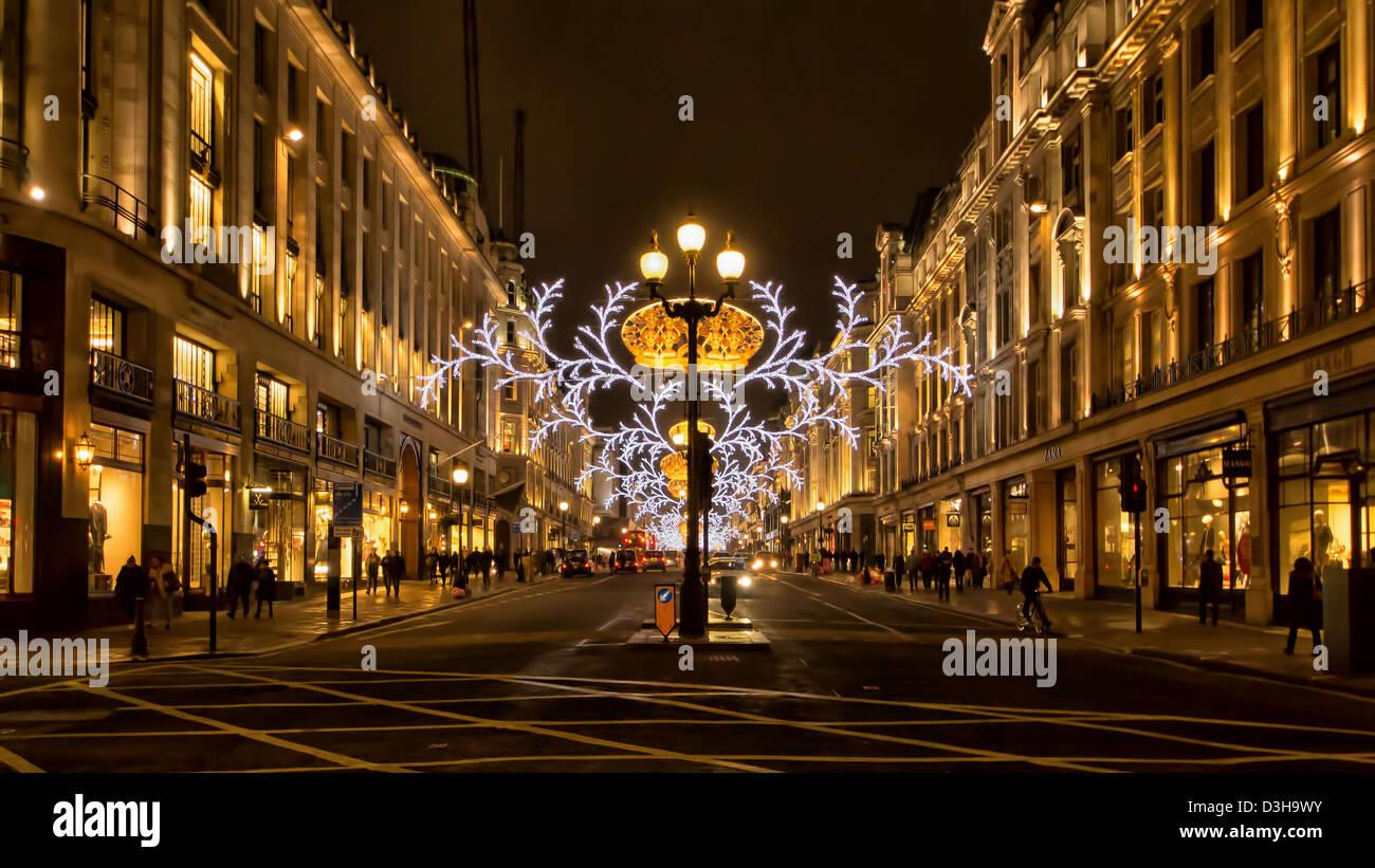 London, Christmas, Regent Street, Night - Stock Image