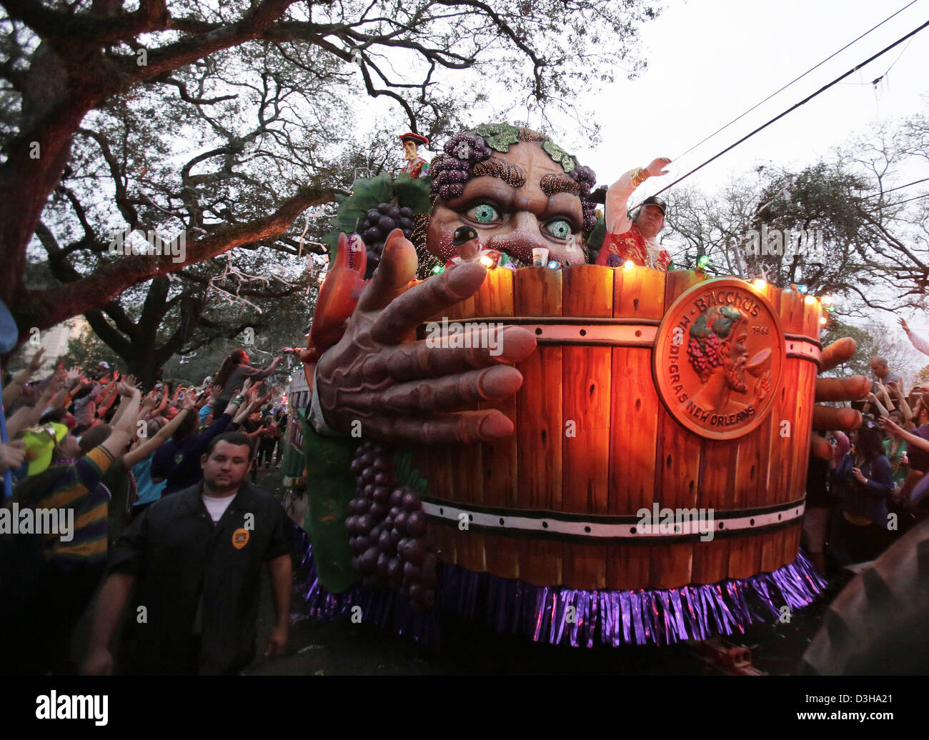 Feb. 10, 2013 - New Orleans, LOUISIANA, UNITED STATES - A float in the Krewe of Bacchus Parade rolls through the Stock Photo