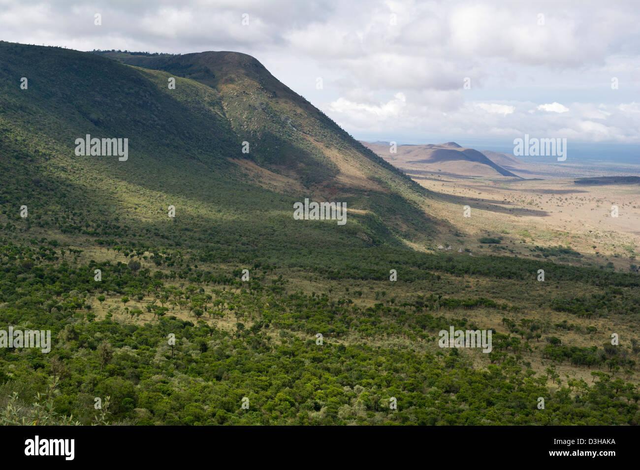 View of the Rift Valley escarpment on the Escarpment Road, Kenya Stock Photo