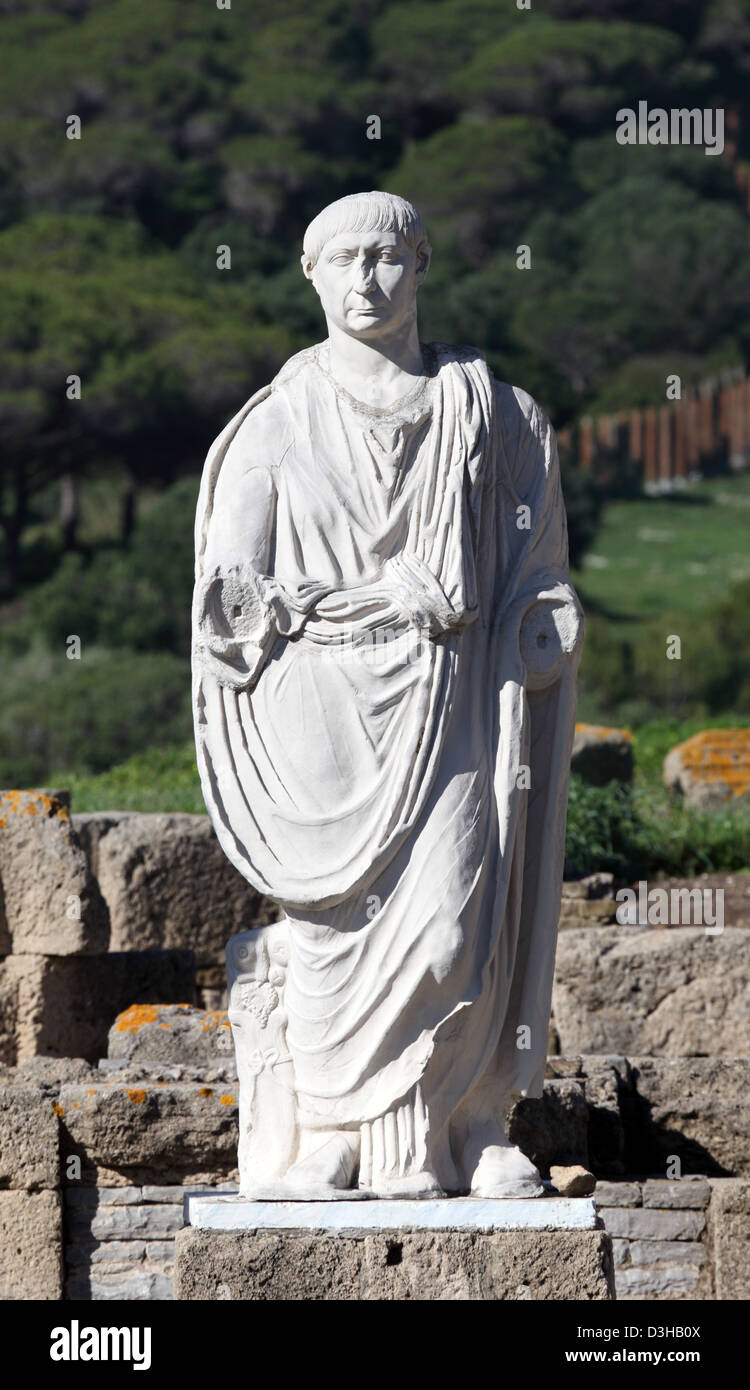 Ancient statue of Cesar in Baleo Claudia, Andalusia, southern Spain Stock Photo