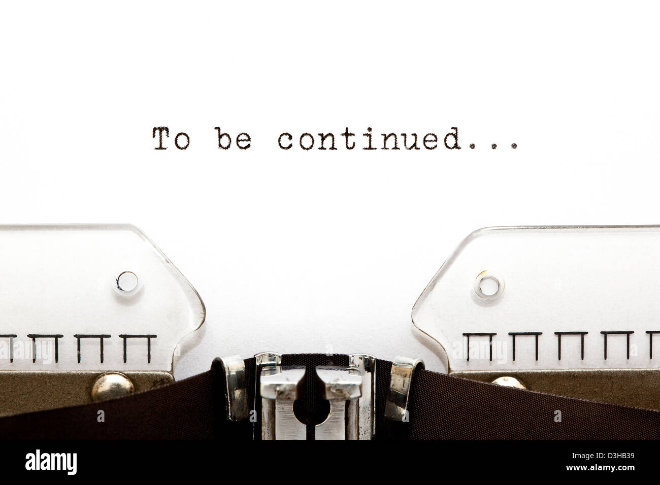 To Be Continued printed on an old typewriter. Stock Photo