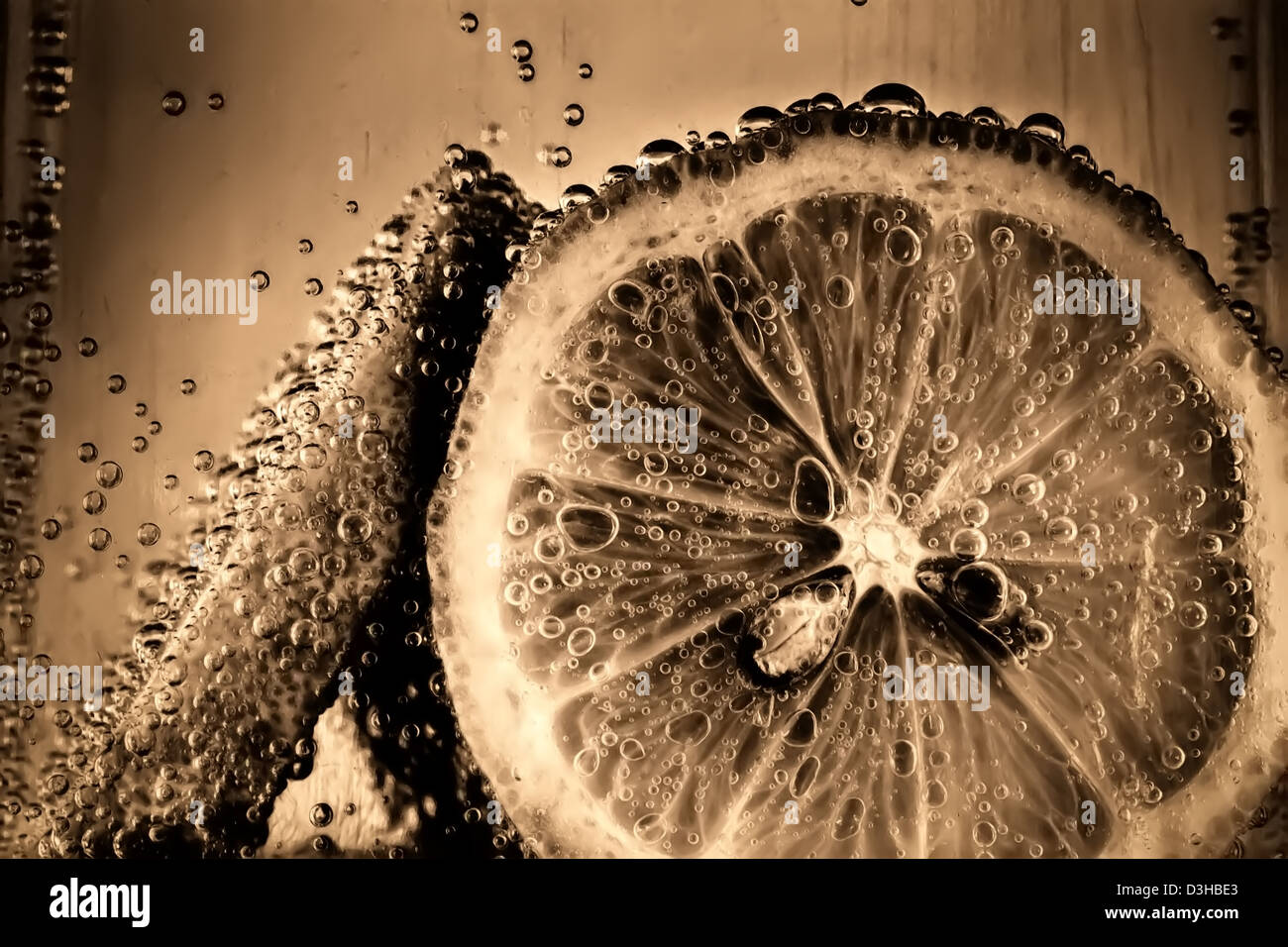 Lemon slices in fizzy water old style Stock Photo