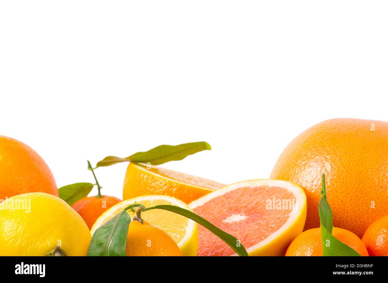 Fruits citrus on white - Stock Image