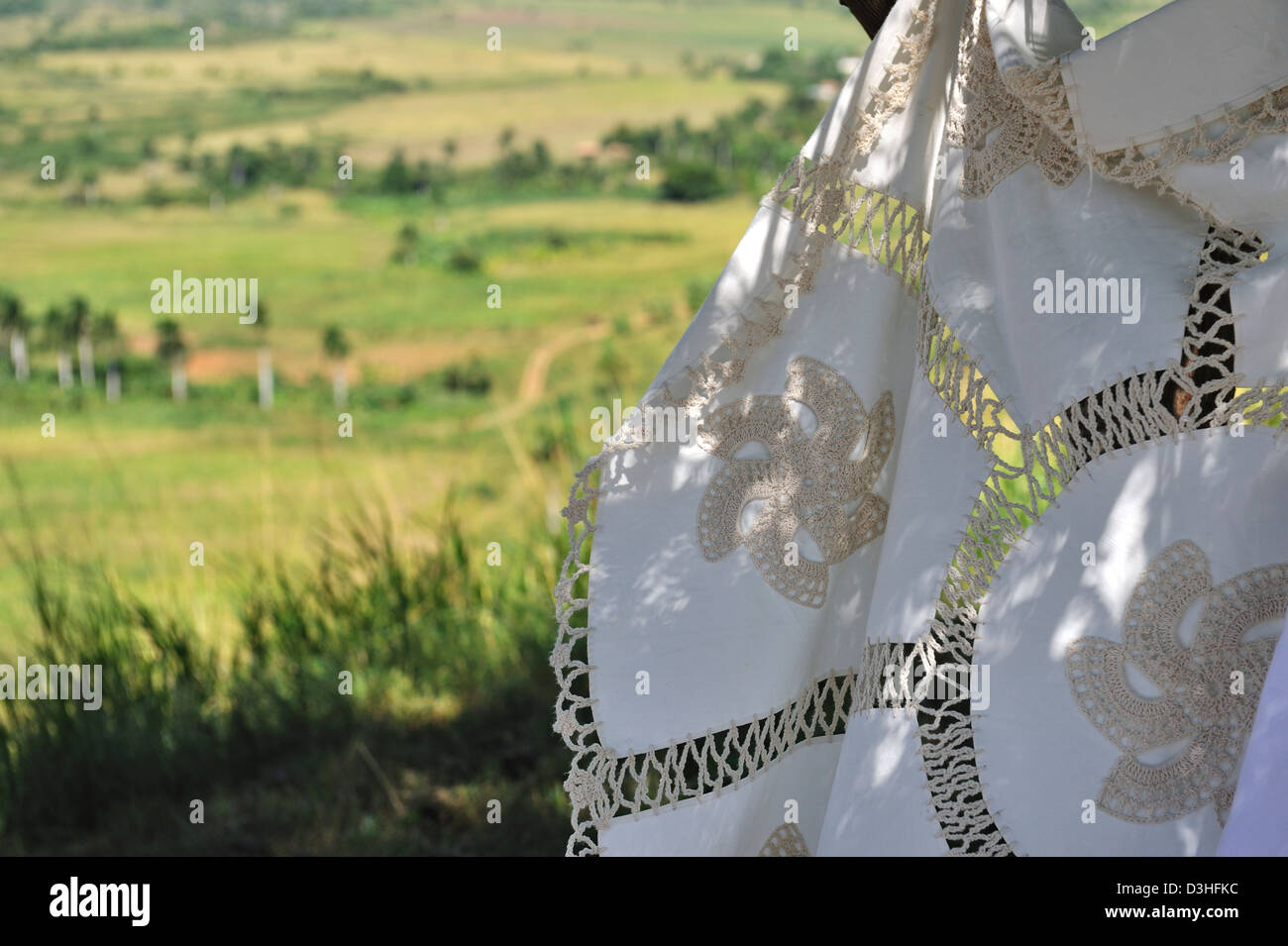 Hand made cloths for sale, Sugar Mills Valley, Cuba - Stock Image