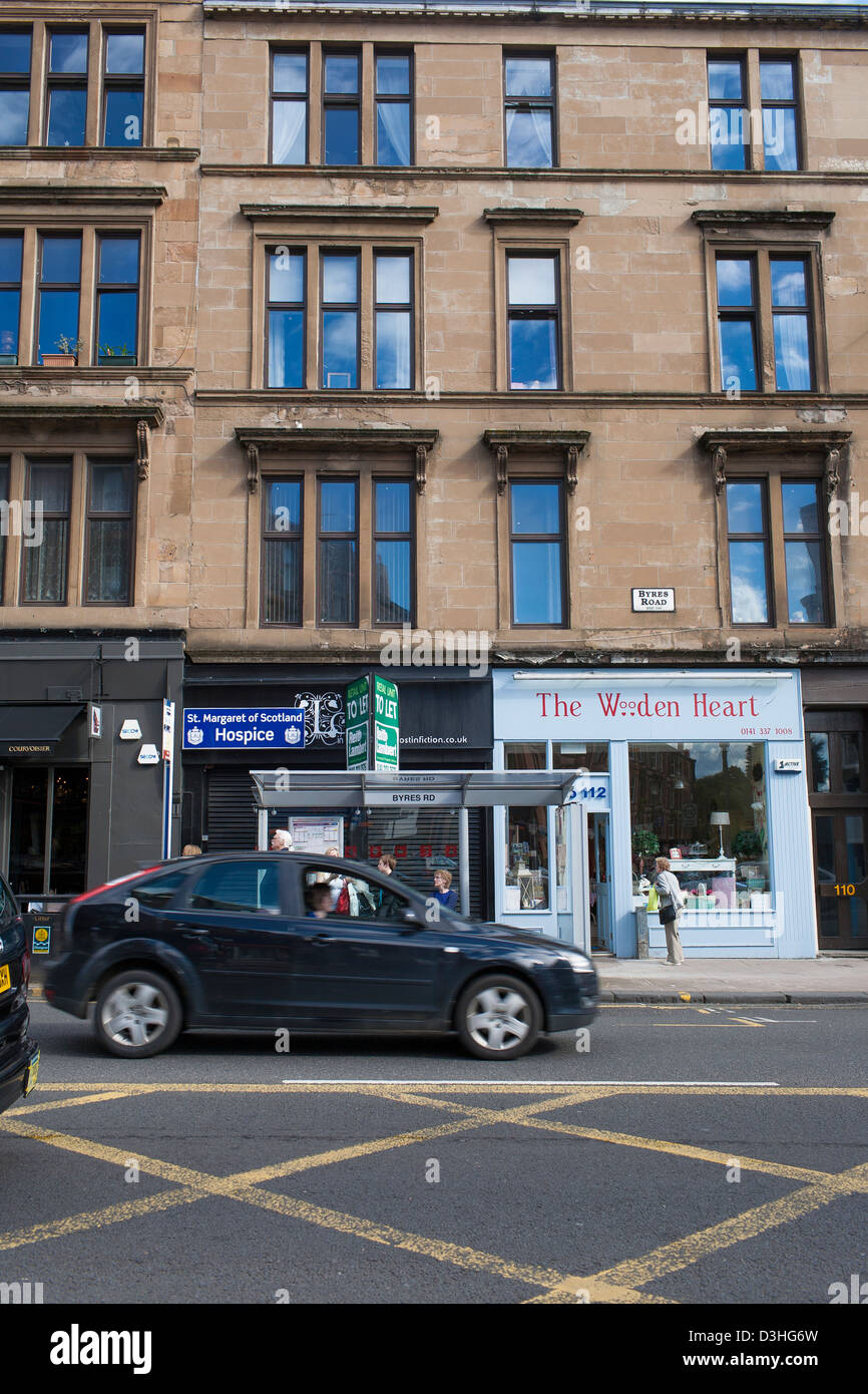 Byers road in Central Glasgow is a retail and social center of the city with many businesses. It is close to the - Stock Image