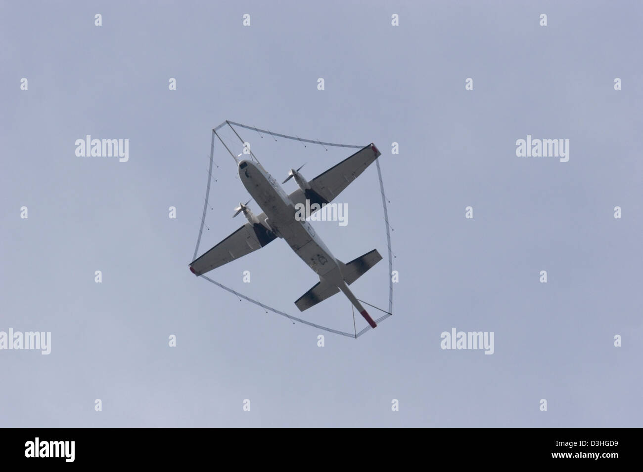 Fugro airborne electro-magnetic survey airplane aircraft Casa twin turbo-prop - Stock Image