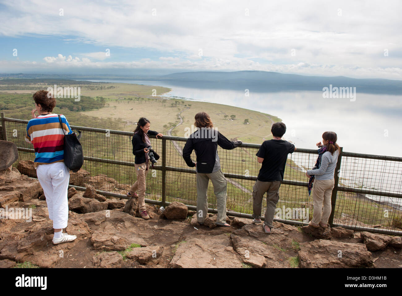 tourists taking in the view from baboon cliff, Lake Nakuru National Park, Kenya Stock Photo