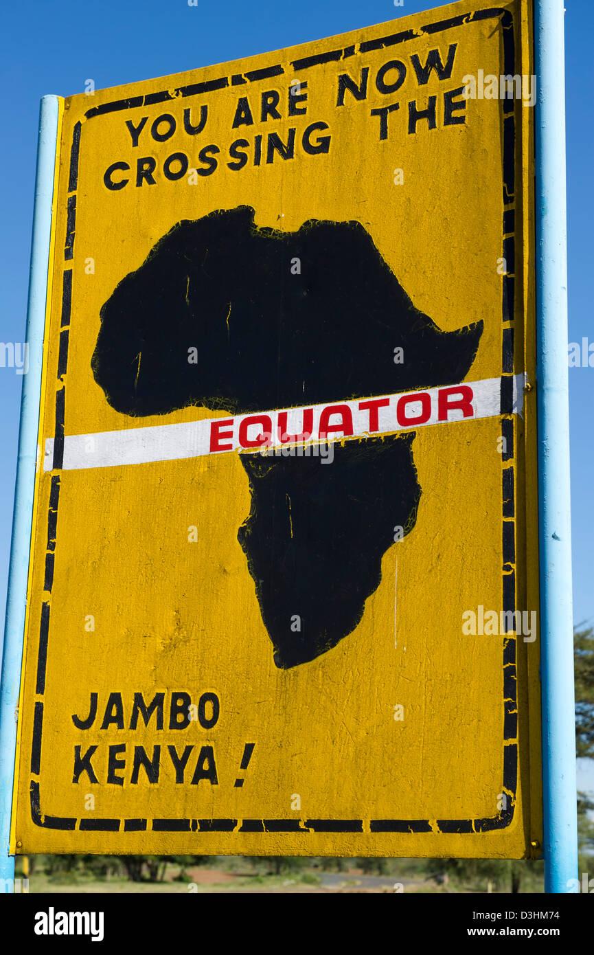 Equator sign board, Kenya - Stock Image