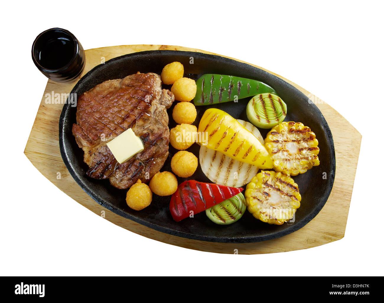 Japanese cuisine .Japanese pork Steak - Stock Image