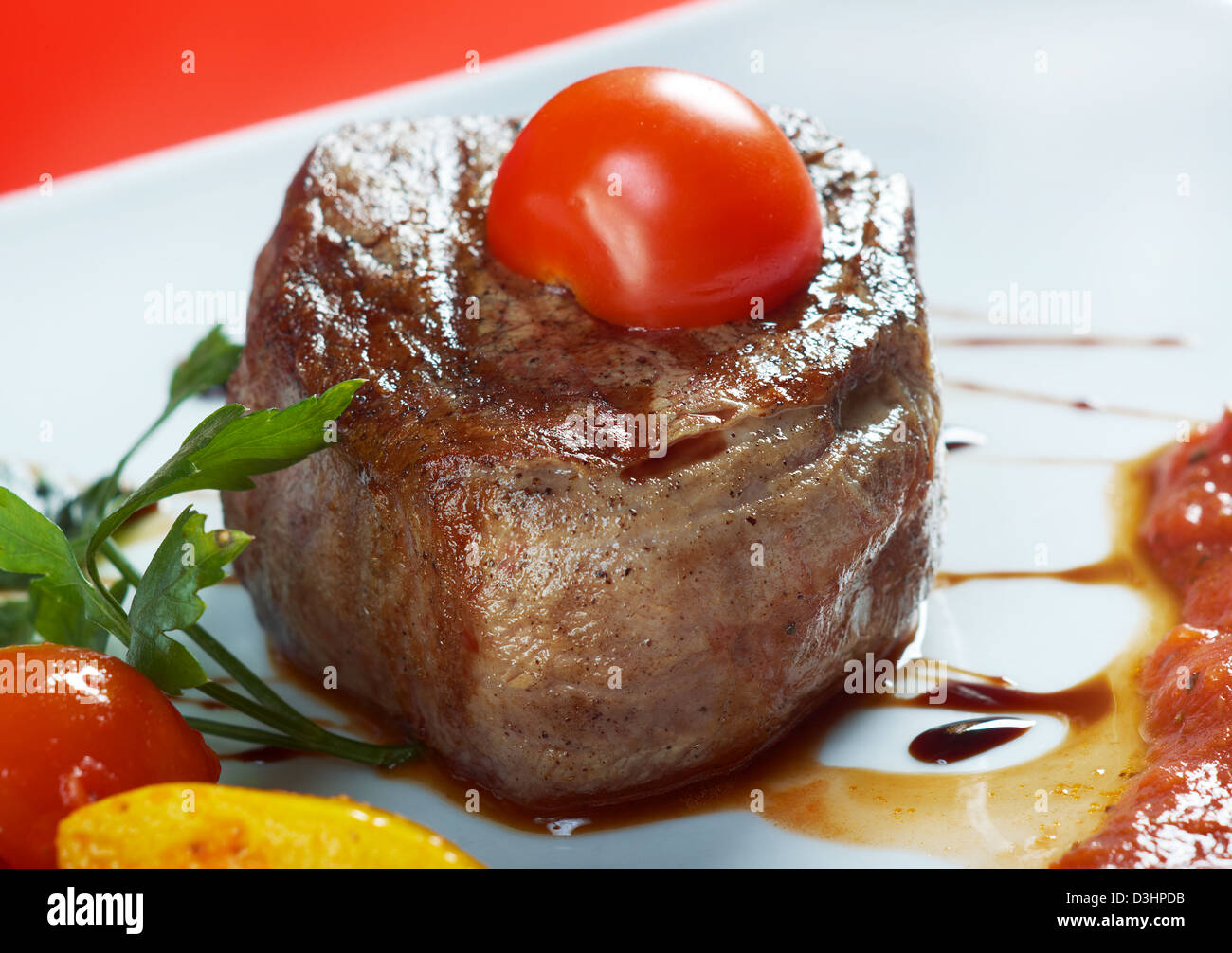 Grilled beef .Close-up - Stock Image