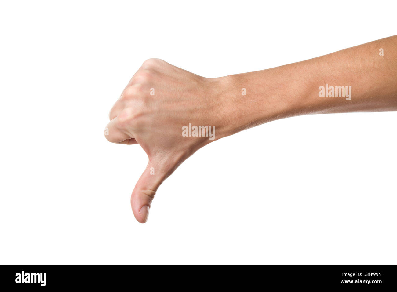 Disapproval - thumbs down hand sign - Stock Image