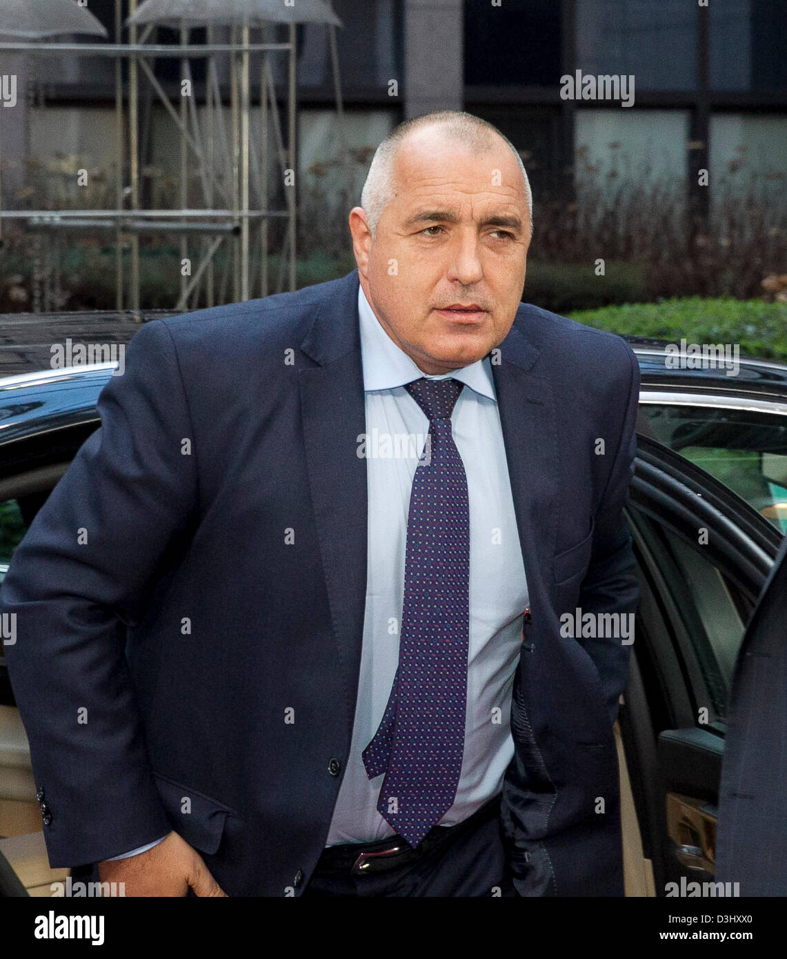 Bulgarian prime minister Boiko Borisov, whose government resigned is seen arriving at the European Council. Bulgaria's - Stock Image