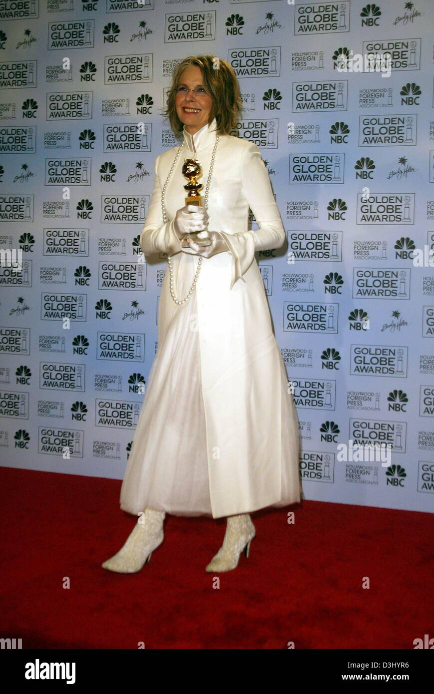 (dpa) - US actress Diane Keaton smiles as she poses with her trophy after the Golden Globe Awards in Beverly Hills, - Stock Image